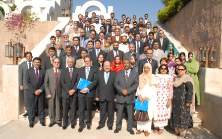 "Group picture of participants at the First Public Private Dialogue on ""Services Sector Export Development Strategy for Pakistan"" with Mr. Shahid Rahim Sheikh, Additional Secretary, Ministry of Commerce (front row centre) and Mr. Pierre Mayaudon, Acting Ambassador of the EU Delegation to Pakistan"