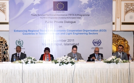 Mr. Pierre Mayaudon (center), Deputy Ambassador of the EU Delegation to Pakistan, Ms. Roshan Ara, Development Advisor at the EU Delegation to Pakistan, Mr. Asaf Ghafoor, Director General PITAD, Mr. Zawdu Felleke, Chief Technical Advisor, TRTA II Programme and Mr. Muhammad Owais, Programme Officer in Trade Policy, TRTA II Programme