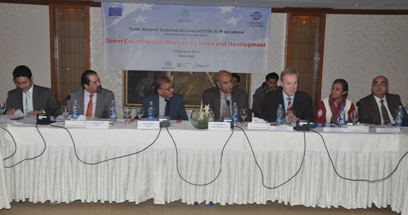 Mr. Berend De Groot, Head of Operation, EU Delegation to Pakistan, Mr. Munir Qureshi Secretary, Ministry of Commerce and Mr. Tahir Mehmood DG, PITAD at Donor Coordination Meeting