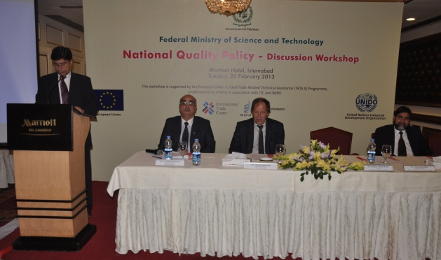 Mr. Akhlaq Ahmed Tarar, Secretary Ministry of Science and Technology addressing the concluding session of the workshop