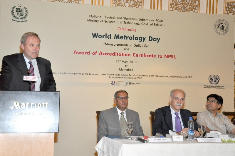Mr. Berend De Groot, Head of Cooperation, EU Delegation to Pakistan giving his remarks at the Accreditattion Certficate Award to NPSL