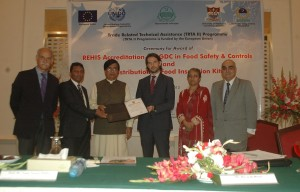 Mr. Riccardo Rossi, and Ms Roshan Ara Development Advisors at EU Delegation to Pakistan presenting the REHIS Accreditation certificate to  Dr. Talat Naseer Pasha, Vice Chancellor UVAS, Mr. Bruno Valanzuolo, Chief Technical Advisor of TRTA II programme (1st left) is also present