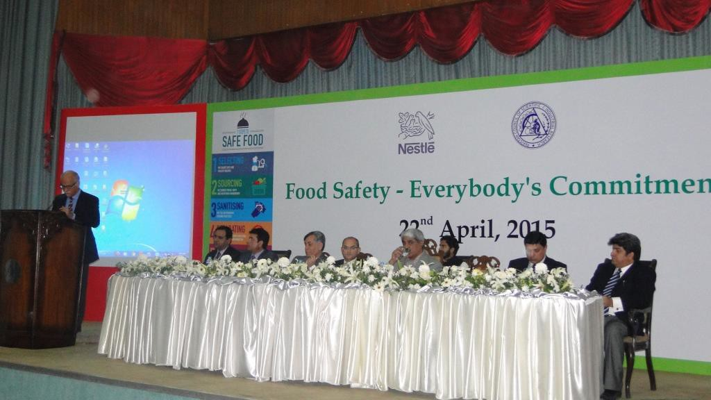 Bruno Valnzuolo addresing the participants at the  Food Safety Seminar