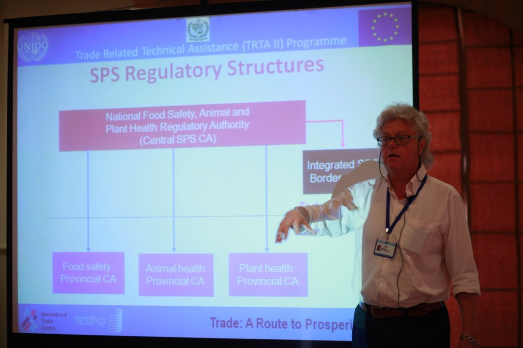 Dr. Ian Goulding presenting the slide on SPS Border Controls and the establishment of National Food Safety, Animal and Plant Health Regulatory Authority that would provide guidelines for SPS measures at Border Inspection Points.