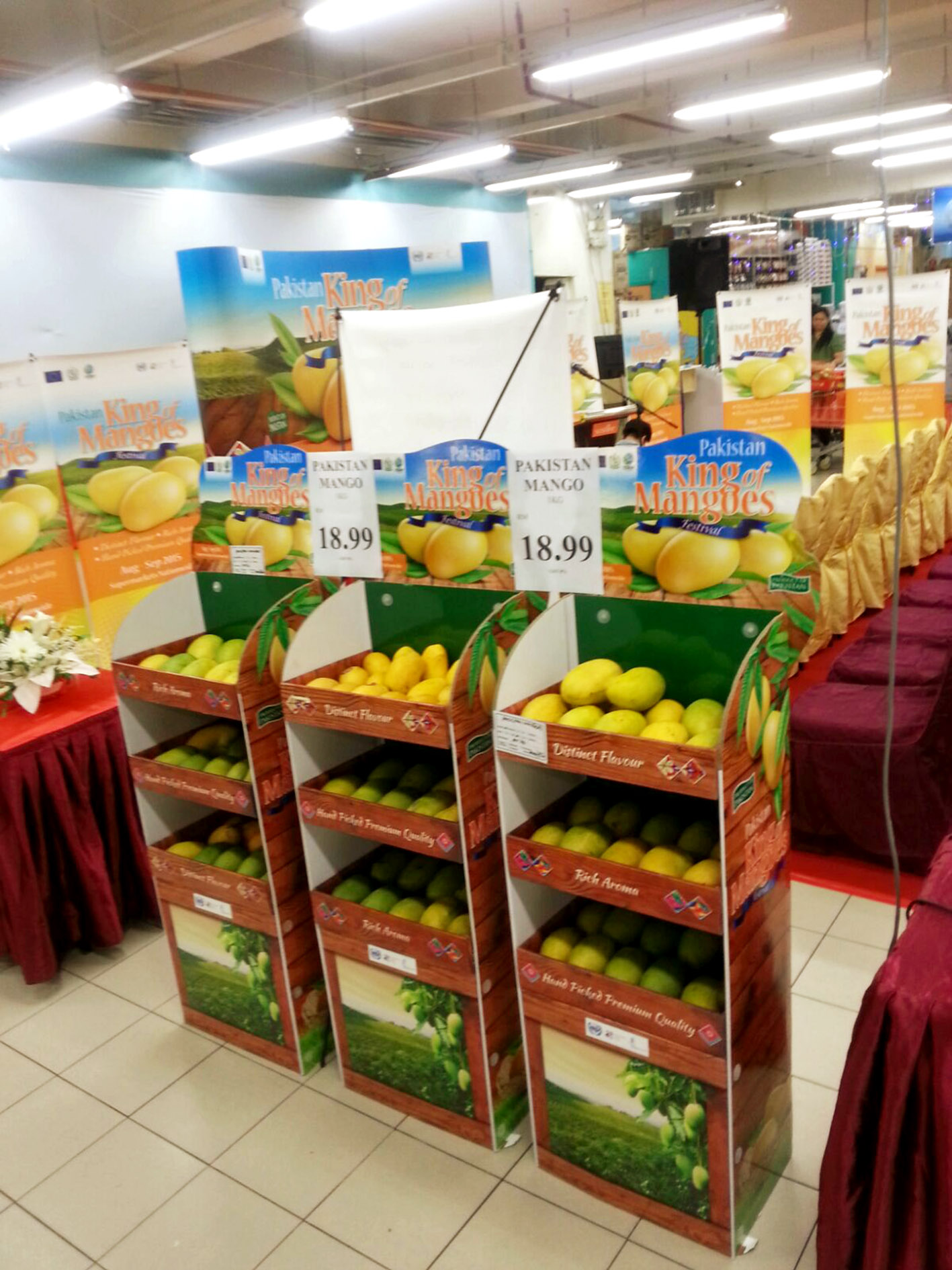 Setup of the pavilion at the Pakistan King of Mangoes Festival at the Sunshine Square Mall in Penang, Malaysia.
