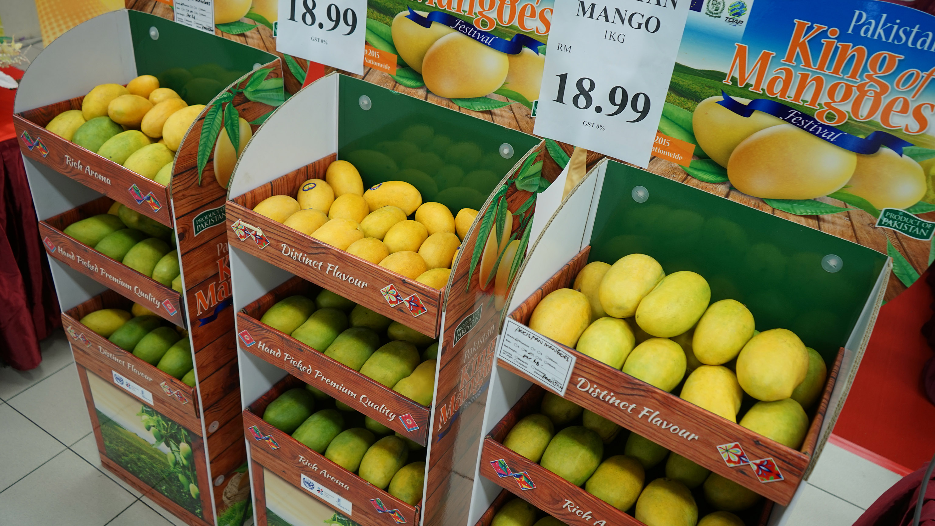 Pakistan mangoes for sale at the pavilion.