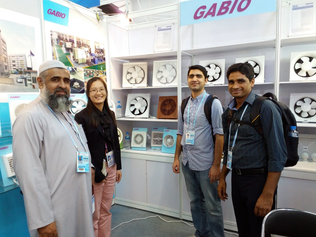 Study tour participants at abooth at Canton Fair